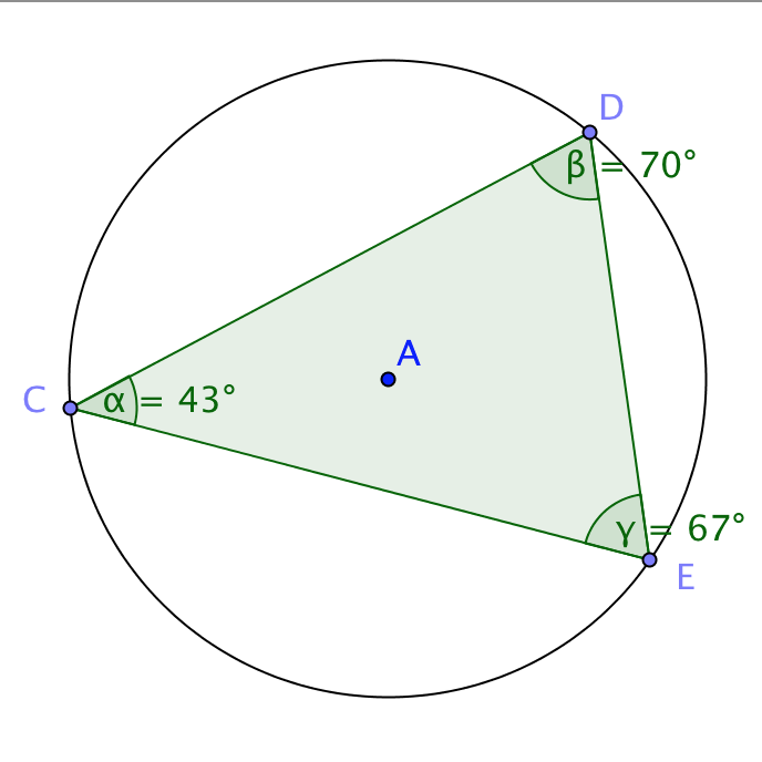Thumbnail of applet Triangle inscribed in a circle